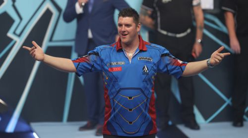 Daryl Gurney hat beim World Matchplay Walk on sichtlich Spaß