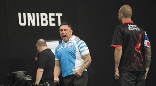 Gerwyn Price freut sich riesig über seinen Sieg gegen Danny Noppert