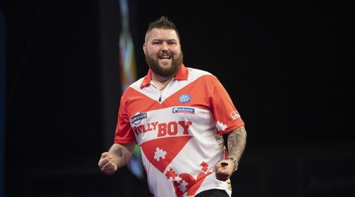 Michael Smith steht in Runde zwei des Grand Prix
