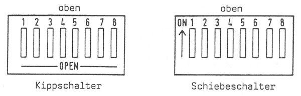 Kippschalter und Schiebeschalter
