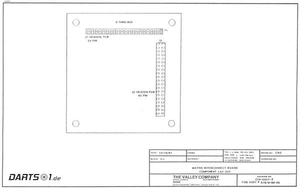 Platinen-Bestückung Matrix Interconnect des Löwen Dartautomat 1989