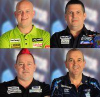Michael van Gerwen, Gary Anderson, Peter Wright und Phil Taylor