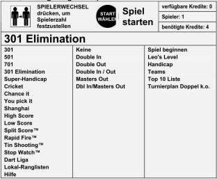 Dartautomat Turnierplan 301